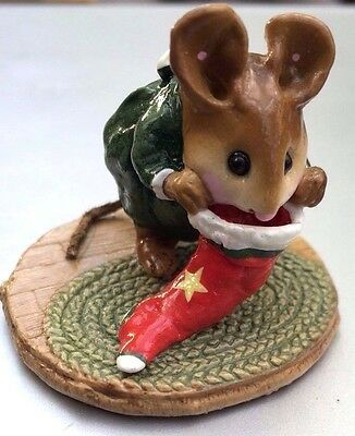 Wee Forest Folk  M-142 Chris Mouse Stocking - RARE- Signed Annette Petersen 1986
