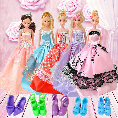 5pcs Wedding Dress Party Gown Clothes Outfits + 10 Pairs Shoes For Barbie Doll
