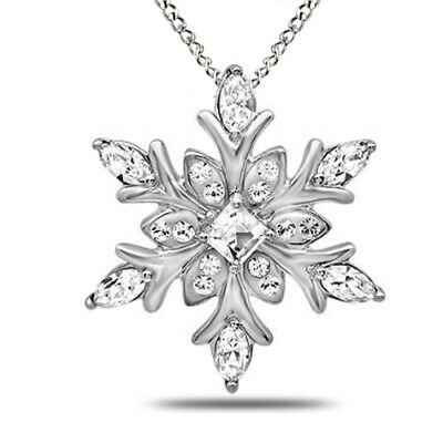 "Summer Sale 925 Sterling Silver Cubic Zirconia Snowflake Pendant 18"" Chain"