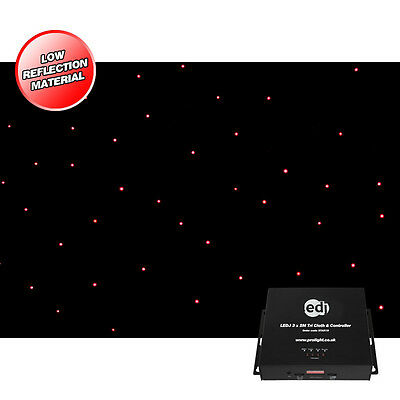 LEDJ 3 x 2m RGB Tri LED Black Starcloth System Disco Event Star Cloth Backdrop