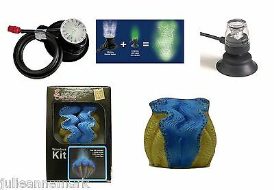 Underwater Aquarium Blue Clam + Blue Led  & Air Bubble Maker Complete Kit