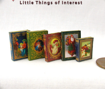 5 CHRISTMAS BOOKS SET Miniature Books Dollhouse 1:12 Scale Prop Faux Books