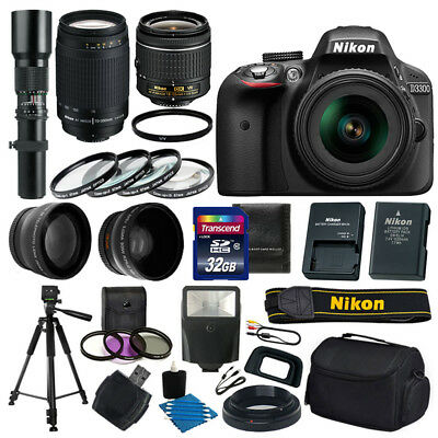 Nikon D3300 DSLR Camera 9 lens Kit 18-55 VR 70-300 500mm +32GB +More Top Value