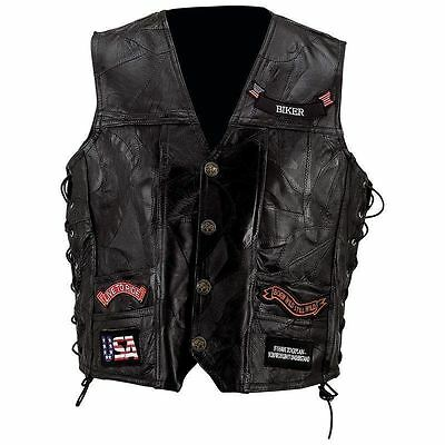 Mens Black Genuine Leather Motorcycle VEST w/ 14 Patches US Flag Eagle Biker