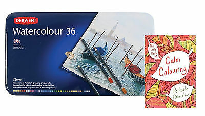 Derwent Watercolour Pencils Tin of 36 plus Bonus Adult Therapy Book 2