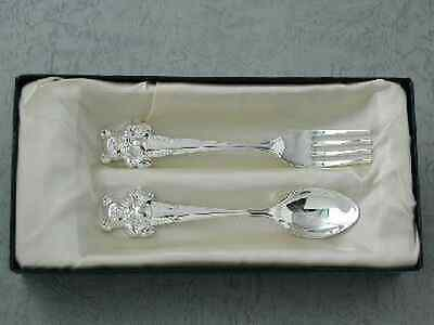 NEW CHILD BABY CUTLERY w BEAR SILVER PLATED BABY SHOWER CHRISTENING GIFT