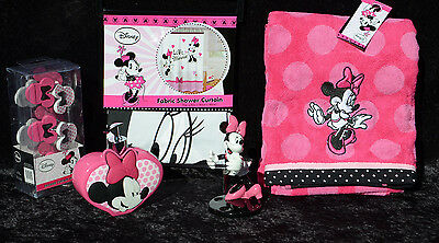 MINNIE MOUSE Bathroom Shower Curtain Hooks Lotion Dispenser Towel Toothbrush Set