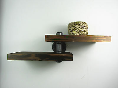 Industrial Style Iron Pipe Double Wooden Adjustable Shelf Shelving