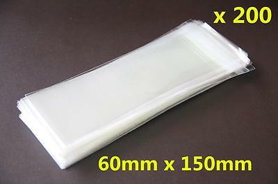 200x Self Adhesive Self Seal Resealable Clear Plastic Cellophane Bags 6x15cm New