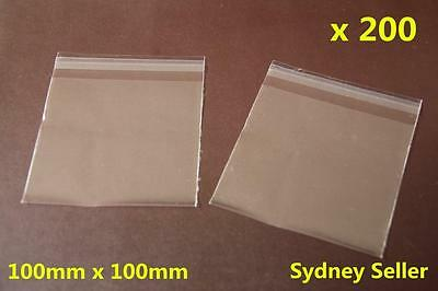 200x Self Adhesive Self Seal Resealable Clear Plastic Cellophane Bags 10x10cm