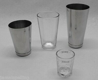 4 Piece BOSTON SHAKER SET 2x Glass & Dual WEIGHTED Tins! Bar Cocktail Mixing Kit