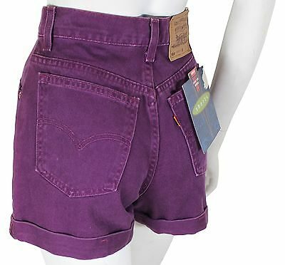 NEW VTG 90s LEVIS 954 Relaxed Fit JEAN SHORTS High Waist Cuffed Size 11 Purple