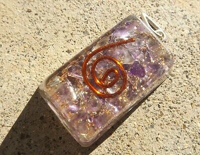 Orgone healing crystal pendant ~ natural amethyst gemstone chips ~ copper spiral