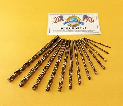 13 Pc COBALT Drill Bit Set Cobalt M42 HSSCO Drill Hog USA Lifetime Warranty