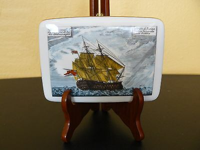 "Man's Porcelain  Key box w/ lid Made by Verbano 1900 ""Ship On Rough Water"" Mint!"