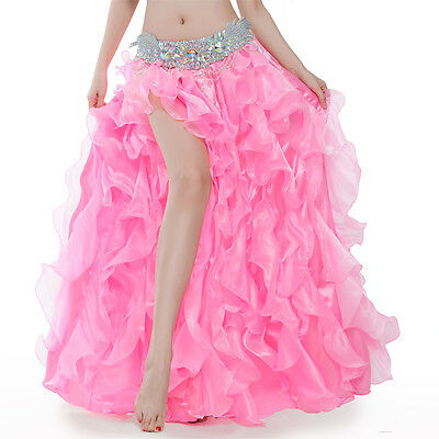 Free Shipping Performance Belly Dance Waves Skirt Dress with Slit Skirt 10 Color