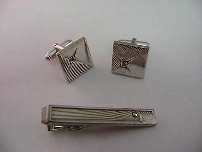 Vintage Mens Jewelry Set Silver Tone Clear Jewel Cufflinks Tie Bar