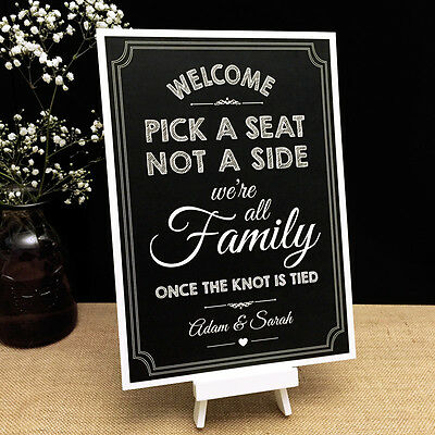 74ea4dcfbcc03c Personalised Chalkboard Style Vintage Wedding PICK A SEAT NOT A SIDE Sign  A4 A3