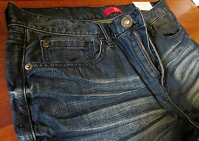 Guess Straight Leg Jeans Men Size 36 X 34 Vintage Distressed Wash ~ NEW