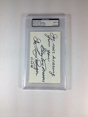 Clayton Moore Autograph  Inscribed Slabbed 3X5 Index Card PSA Graded 9 Mint