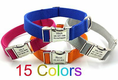 Personalized Engraved Dog Collar Customized Name Phone Metal Buckle 15 Colors