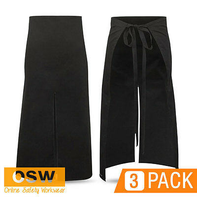 3 X Hospitality/chef/sushi/restaurant Continental Waist Tie Black Bistro Aprons