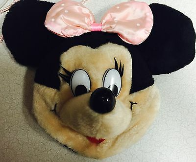 Vintage Walt Disney Minnie Mouse Head Plush Purse Pals Handbag Co