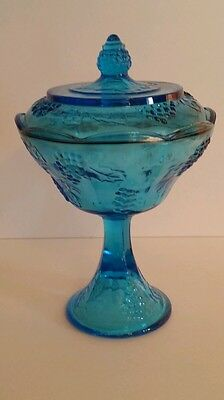Blue Grapes Candy Dish  Carnaval Glass