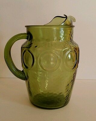 Anchor Hocking Green Glass Pitcher
