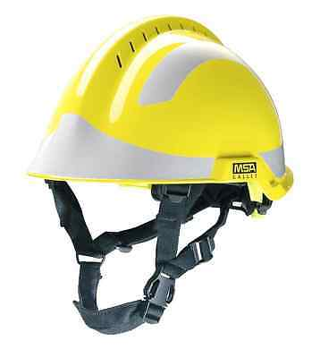 MSA F2 X-Trem yellow Helmet And full pack of Silver reflective Stickers