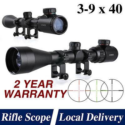 3-9x40E red and green air rifle gun sniper hunting scope with 20mm Mount UK