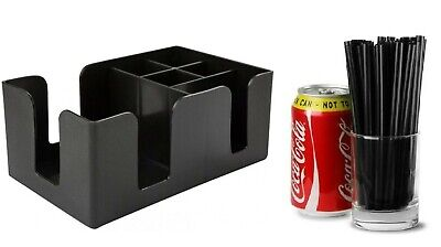 Bar Caddy Classic | Plastic Bar Condiment Caddy Black for Straws Napkins