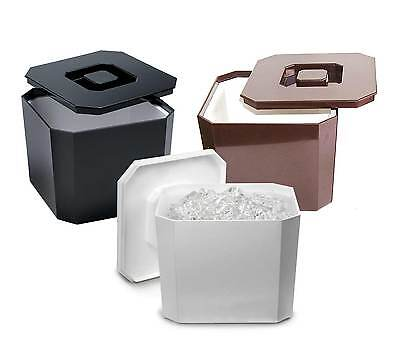 Octagonal Ice Bucket Black,White, Brown 4.5ltr | Plastic Square Ice Cube Bucket