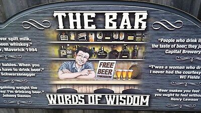 THE BAR - Words of Wisdom, Man Cave, Mens Gift, Bar sign, Gift for dad
