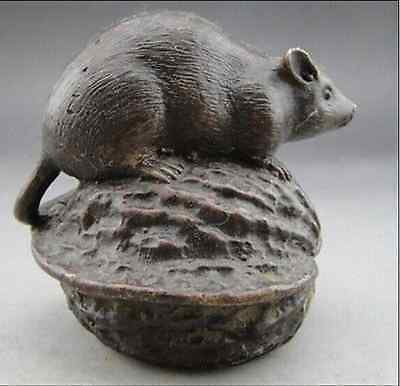 7.8 cm * /  Old China Hand-carved Bronze mouse walnut statue