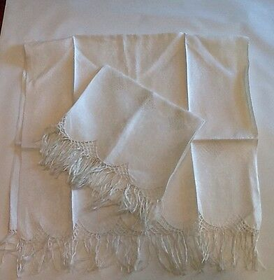Vintage Dresser Scarves - Pair Of White With Fringe And Thread Crochet Work