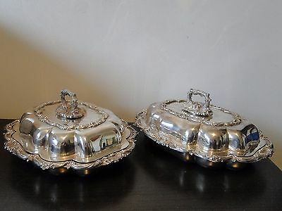 Silver Plated Entree Dishes, Antique, English Marked 1840, Walker And Hall