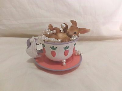 Fitz & Floyd Dean Griff Signed Bouncing Baby Bunny Bunny Bathing in Teacup