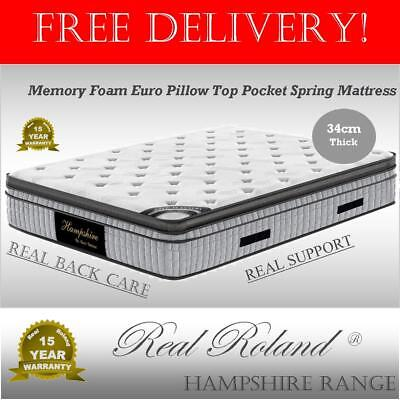 Real Roland Memory Foam Euro Top Pocket Spring Mattress King Queen Double Single