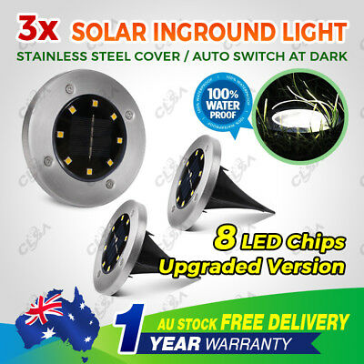 3x Solar LED Buried Inground Light Garden Waterproof Outdoor Pathway Lawn Lamp