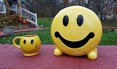 """""""Smile"""" Corning factory store Cookie Jar and McCoy coffee Mug"""