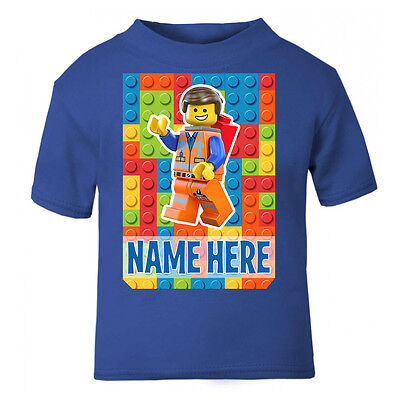 Personalised Lego Movie T-Shirt Boys Girls Top Age Size Emmet kids cute gift New