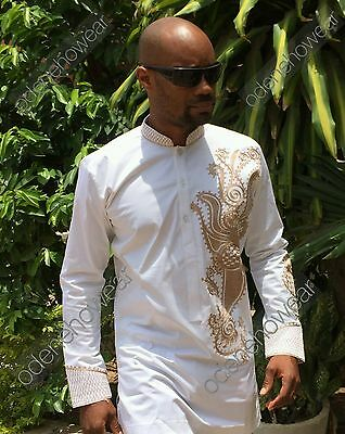 Odeneho Wear Men's White Polished Cotton Outfit/ Embroidery.African Clothing.