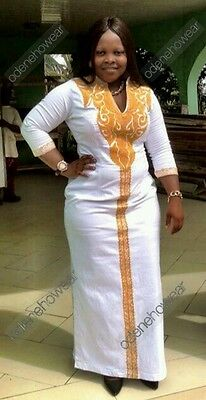 Odeneho Wear Ladies White Polished Cotton Dress/Embroidery.African Clothing.