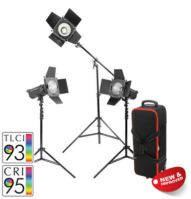 LED100D MKII Daylight LED Continuous Studio Light Three Head Boom Kit with Case