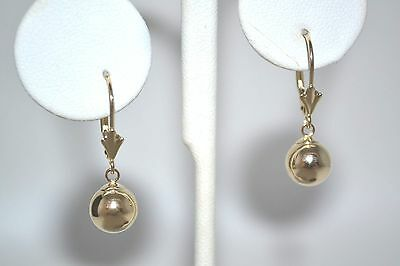 14K Solid Yellow Gold 8Mm Ball Drop Dangle Lever Back Earrings