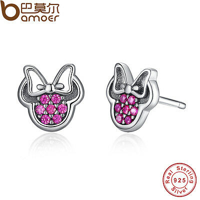 Authentic S925 Sterling Silver Stud Earrings Disny Sparkling Minni Colorful CZ