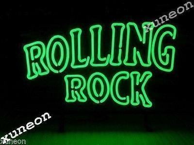 Rare New Rolling Rock Beer Bar Pub Real Glass Neon Light Sign FAST FREE SHIP