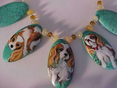 Cavalier King Charles Hand Painted On Turquoise  Necklace & Earrings