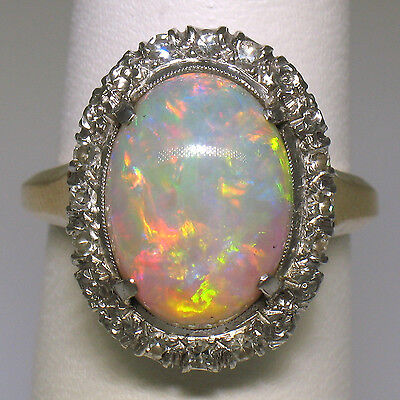 Antique 14k Two Tone Gold Oval Cabochon Fire Opal Solitaire Ring w/ Diamond Halo